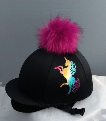 kids riding silks Unicorn  rainbow equestrian hat covers younger horse riders.
