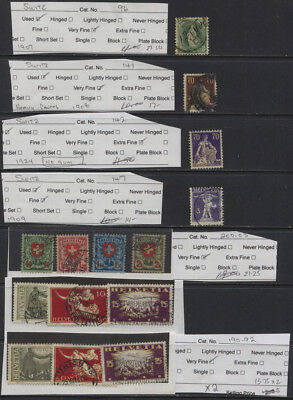 Switzerland 1891 - 1919 Mostly Used Sets & Singles CV $107+   (T)