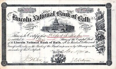 The Lincoln National Bank of Bath, Maine 1905 Stock Certificate