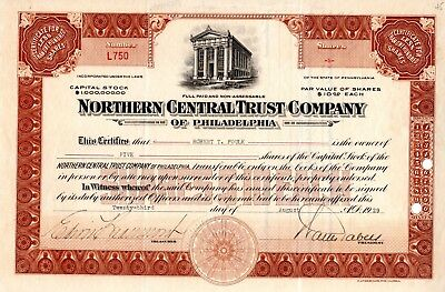 Northern Central Trust Company of Philadelphia 1929 Stock Certificate - brown