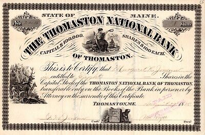 The Thomaston National Bank of Maine 1878 Stock Certificate