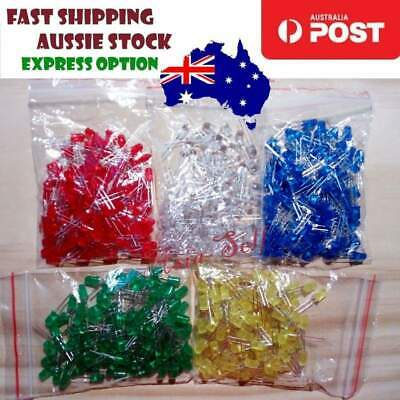 500pcs 100each 5mm LEDs Blue White Green Yellow Red LED Light Emitting Diodes -