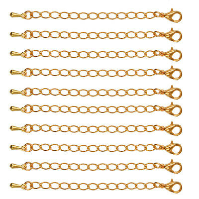 10x Lobster Clasp Extender Chain Alloy Gold Usefull Necklace Findings 75mm