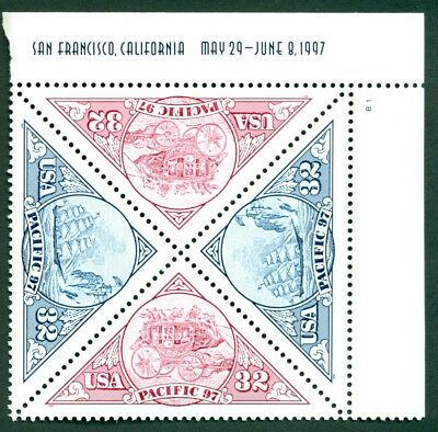 SCOTT #'s 3130-3131 PACIFIC 97 PLATE BLOCK, MINT, OG, NH, GREAT PRICE!