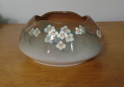 Owens Lotus Bowl with Floral Design Signed Denny MINT! Very Pretty!