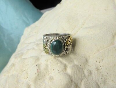 Ring Sterling Silver 925 with Helix and Stone Malachite Happiness the Egyptians