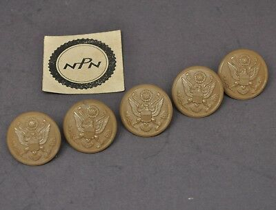 """Vintage Military Button Plastic HBW Eagle Great Seal Buttons 1 1/8"""" Lot of 5"""