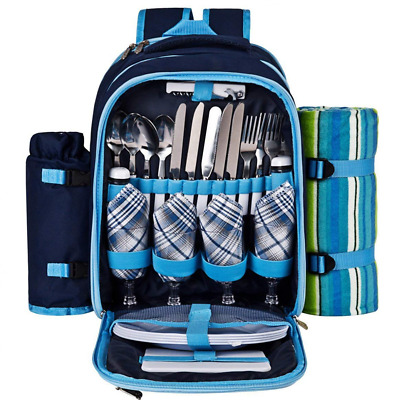 Picnic Backpack for 4 With Cooler Compartment, Detachable Bottle/Wine Holder new