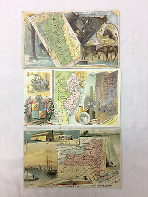 Vtg Lot of 3 Arbuckle's Ariosa Coffee Trade Card states New York Jersey Vermont