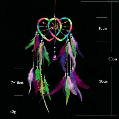 Double Heart Dream Catcher Colorful Feather Jewelry Home Decor Wall Hanging CV