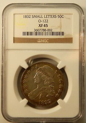 1832 Small Letters O-122 Capped Bust Half Dollar - NGC Certified XF45 !!
