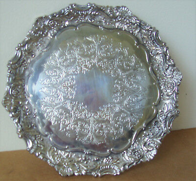 Silver Co.  Silver Plated Baroque 3 Footed Round Tray by FB Rogers