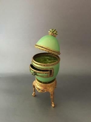 VTG FABERGE STY HAND MADE JEWELED JEWERLY MUSIC BOX EGG w GOLD GILT METAL STAND