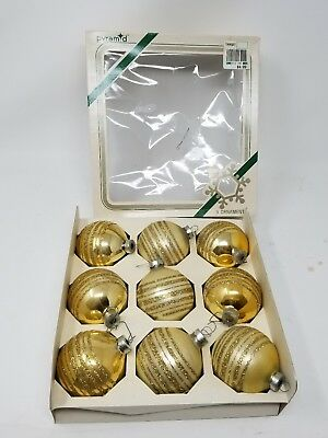 VINTAGE PYRAMID CHRISTMAS ORNAMENTS GOLD GLASS BALL with GLITTER STENCIL 2.6""