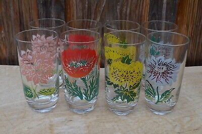 VTG lot 8 Boscul Drinking Glasses Water Tumblers Dahlia Poppy Mums Peony Flowers