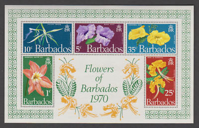Barbados - 1970 Flower Souvenir Sheet. Sc. #352a, SG#MS424. Mint