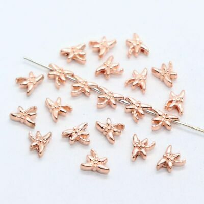 30//90pcs Alloy Rose Gold Small Butterfly Charm Loose Spacer Beads 6x8mm