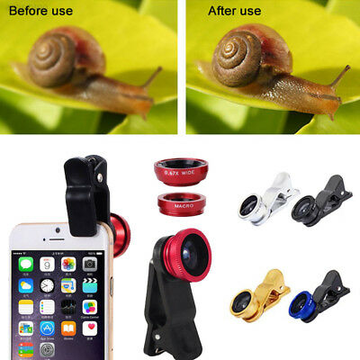F21D Universal 3 In 1 Clip On Fish Eye Wide Angle Macro Lens For Mobile Phone