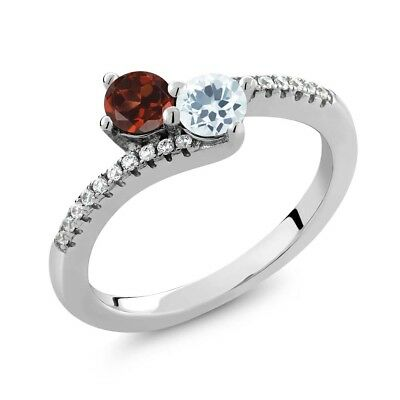 0.83 Ct Round Red Garnet Sky Blue Aquamarine Two Stone 925 Sterling Silver Ring