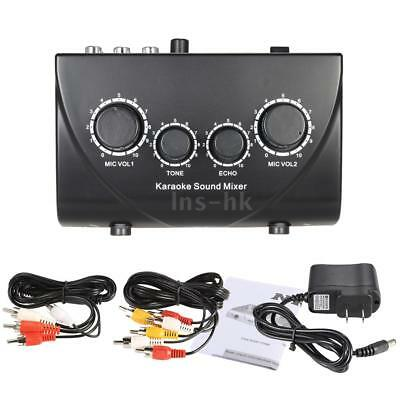 1 Set Karaoke Sound Mixer Dual Mic input con cavo for KTV Home Use Black P0R0