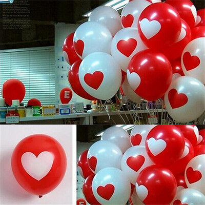 12Pcs Heart Printed Latex Balloons Room Wedding Party Festival Decoration OZ