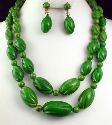 Antique Vintage Art Deco Green Tested Bakelite Bold Necklace Beads Earrings Old