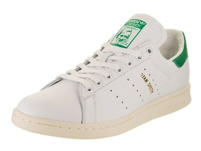 Adidas Stan Smith ORIGINALS Men's Leather Trainers. White/White/Green Colorway