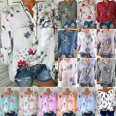 Women Plus Size Floral Print Tops Blouse Long Sleeve Casual Shirts Loose T-shirt