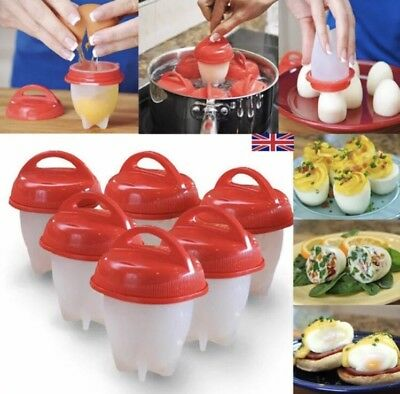 6Pc Set Egg Cooker Egg Boiler Food Grade Silicon Cups Easy Use Kitchen Tool UK