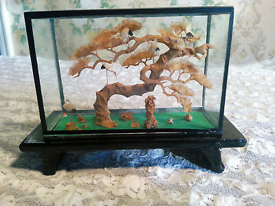 Vintage Carved Cork Diorama Asian Scene-Tree With White -Black Lacquered Wood