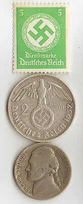 -*WWII -  SILVER - *us  and *german   coins/STAMP  +