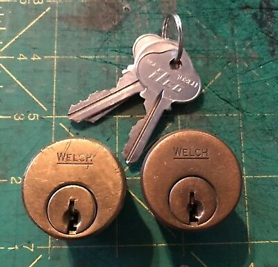 "PAIR OF Antique WELCH mortise, door lock cylinderS 1 1/4"" Brass (3 keys)"