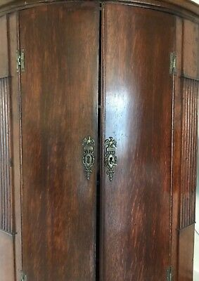 George 3rd bow fronted, hanging corner cabinet. Circa 1800.