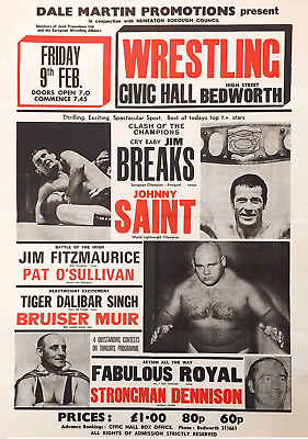 Job Lot Of 5 British / Usa Vintage Wrestling Posters 8 X 11 Inch Laminated Wwe