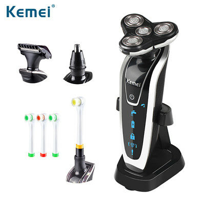 New 4 In 1 Men's Electric Hair Washable Shaver Rechargeable Triple Blade Razor