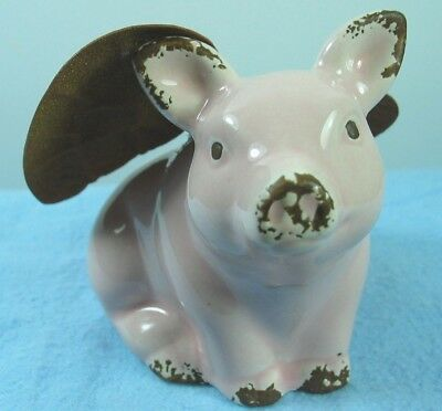 Flying Pig ! Pink Piggy With Metal Brown Bronze Wings W/trim On Pigs Ears,nose +