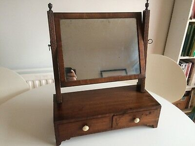 Antique Mahogany Georgian Table Top Dressing Square Swing Mirror 2 Drawers