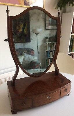 Antique Mahogany Georgian Table Top Dressing Shield Swing Mirror 3 Drawers