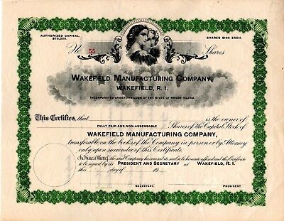Wakefield Manufacturing Company of Rhode Island 1900's Stock Certificate