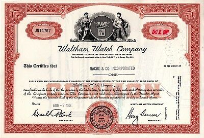 Waltham Watch Company of NY or NJ 1960's Stock Certificate