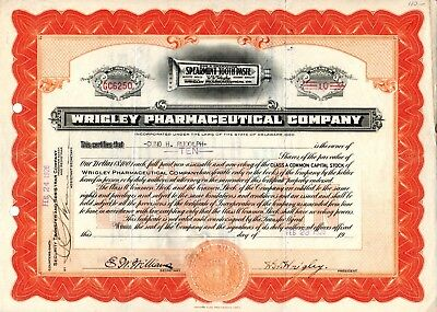 Wrigley Pharmaceutical Company (Spearmint Toothpaste) 1926 Stock Certificate