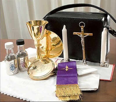 Travel Mass Kit, Includes Chalice,  Paten, Pyx, Crucifix and More in Zipped