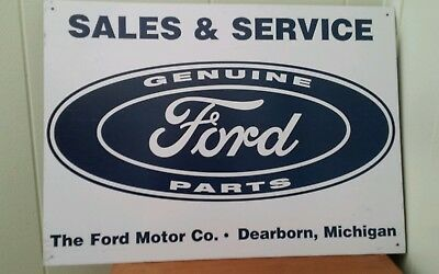 Vtg 17X11 Tin Metal Sign Ford Motor Co Sales & Service Genuine Ford Parts