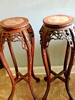Vintage Carved Oriental Marble Top Chinese Stand ---   Round Oriental Side Table