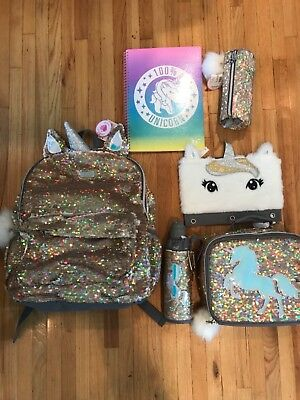 NWT JUSTICE Gold Unicorn Flip Sequin Backpack 🦄🦄🦄 lunch ,2 pencil water note