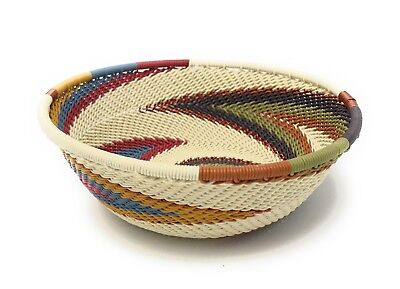 Fair Trade Zulu Telephone Wire Baskets South Africa - Sm Wide Bowl Wh Earth RB