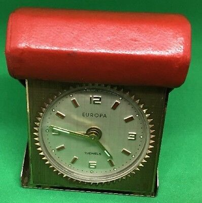 Vintage West German 'Europa 7 Jewel Travelling Alarm Clock' Folding Red Case