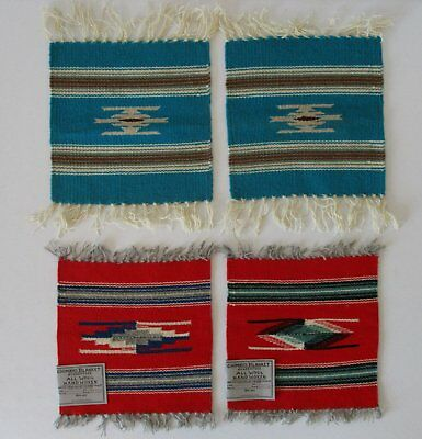 """Lot of Four Vintage Chimayo Red and Turquoise Wool Small Place Mats 10"""" X 10"""""""