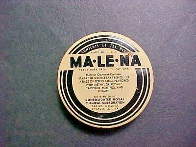 Malena - Ma-Le-Na Ointment Tin Empty Consolidated Royal Chemical Chicago IL