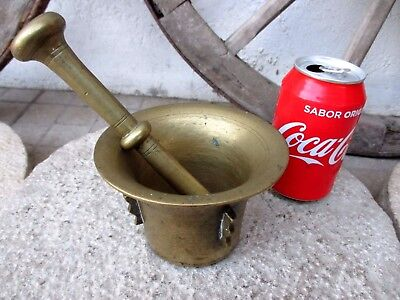 Genuine Antique Or Vintage Brass Mortar And Pestle Beautiful Patina